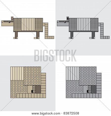 symbol icon rectangle animal armadillo