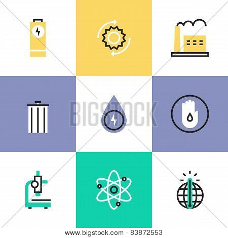 Energy Conservation Research Pictogram Icons Set Poster