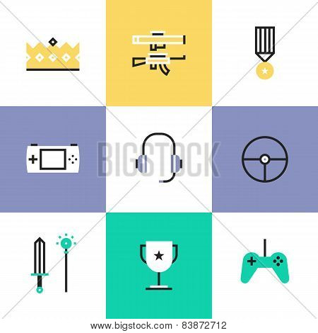 Indie Gaming Elements Pictogram Icons Set