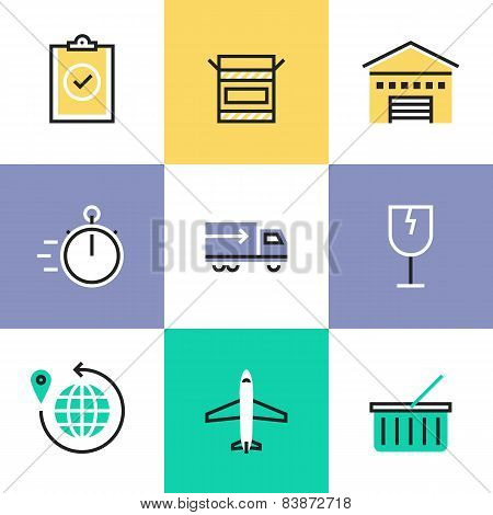 Global Delivery Service Pictogram Icons Set
