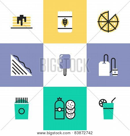Food And Drinks Pictogram Icons Set
