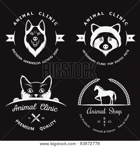 Set Of Vintage Logos For Vet Clinic