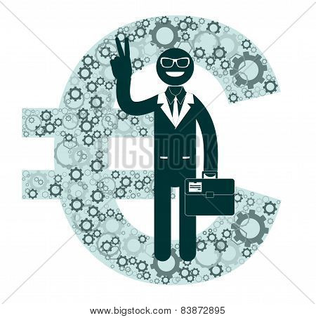 Businessman showing victory sign on a background of euro signs.