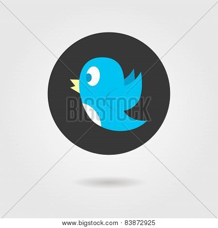 blue birdy in black circle