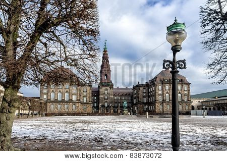 Christiansborg Castle With The Parliament In Copenhagen