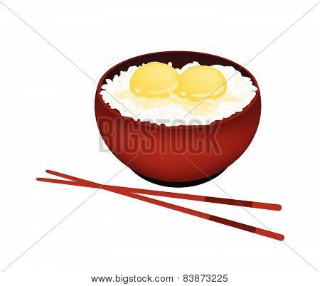 Bowl Of White Rice With Raw Egg