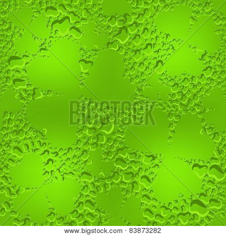 Green seamless glass clover leaves with transparent drops of dew