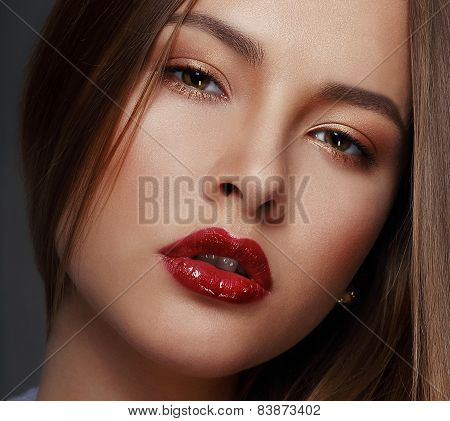 Studio Close Up Portrait Of Young Sensual Beauty
