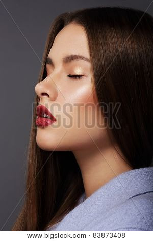 Inspiration. Profile Of Young Dreamy Brunette