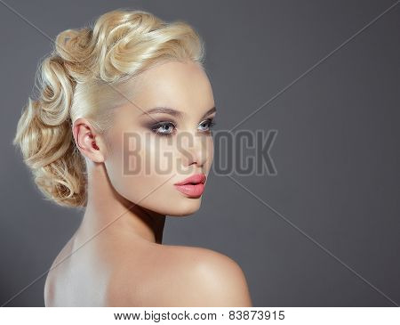 Studio Portrait Of Young Woman Blonde