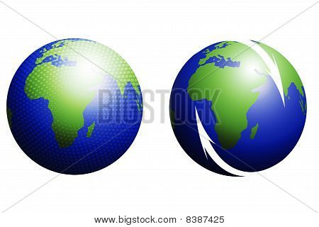 isolated world globes