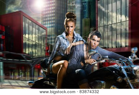 Adventure. A Couple Riding A Motorcycle