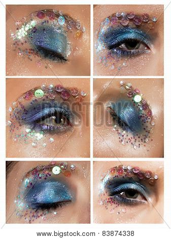 Mascara. Blue Eyeshadow With Colorful Rhinestones
