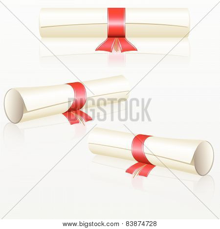 Set Scrolls With Red Ribbon [