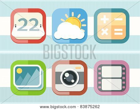 Mobile phone applications black icons set