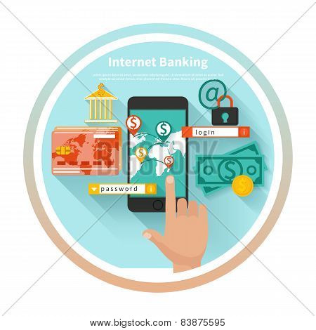 Internet banking and security deposit concept