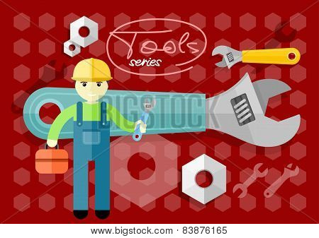 Man, person with toolbox and wrench in hands