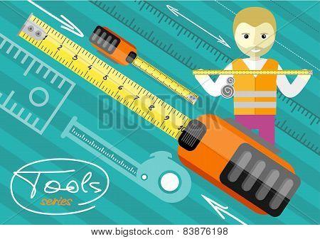 Happy male worker showing folding ruler