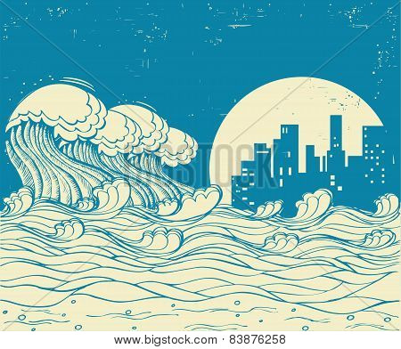 Big Waves In Night.vector Poster Illustration On Old Paper Texture
