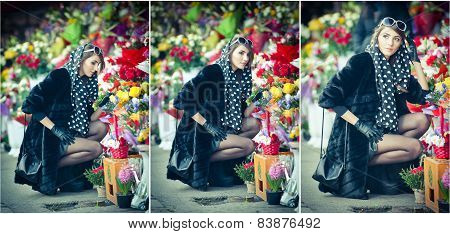 eautiful brunette woman with gloves choosing flowers at the florist shop. Fashionable female