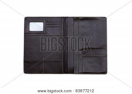 Black Leather Folder Isolated