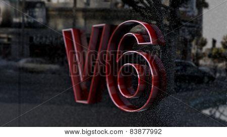 V6 sign, label, badge, emblem or design element, 3d render.