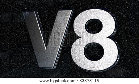 V8 sign, label, badge, emblem or design element, 3d render.