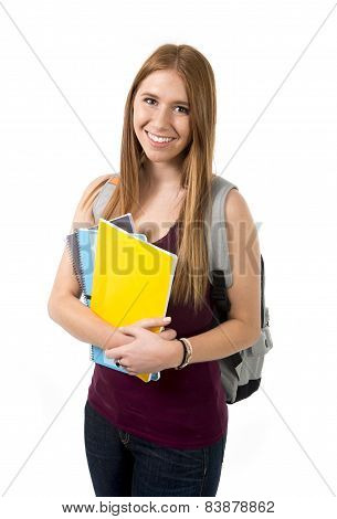Young Beautiful College Student Girl Carrying Backpack And Books Posing Happy And Confident In Unive