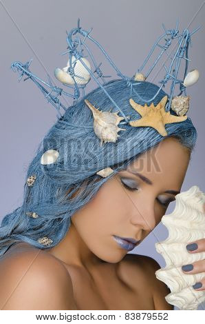 Woman With Blue Hair, Crown And Shells
