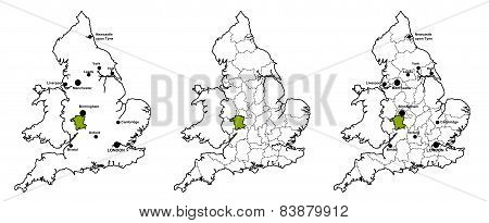 Worcestershire located on map of England