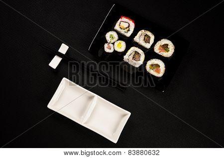 Luxurious Sushi On Black Background - Japanese Cuisine