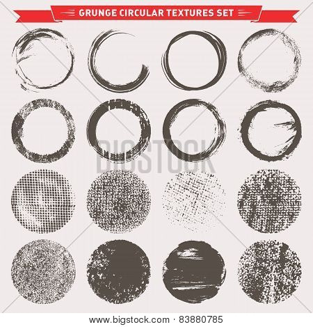 Grunge Circular Texture Backgrounds Vector
