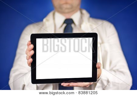 Modern Doctor Wearing Tie Showing Blank Tablet Screen
