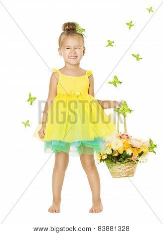 Little Girl In Children Dress With Basket, Happy Smiling Kid In Yellow Summer Clothes White Isolated