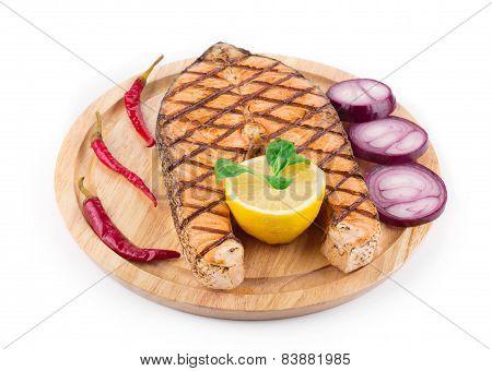 salmon steak on platter