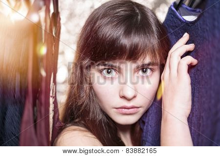 Beautiful Teenage Girl With Intense Look, Bokeh, Flare, Motion Blur