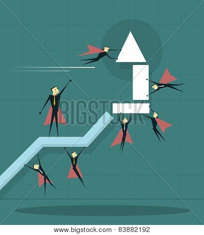 Businessman Flying With Arrow And Trying To Improve Achievement Graph