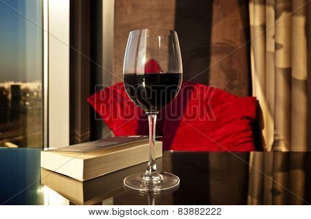 Place For Reading - Book And Wine