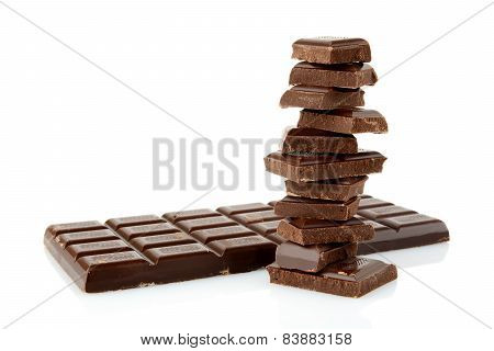 Stack Of Blocks Of Chocolates On White Background