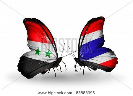 Two Butterflies With Flags On Wings As Symbol Of Relations Syria And Thailand
