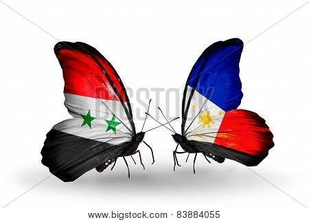 Two Butterflies With Flags On Wings As Symbol Of Relations Syria And Philippines