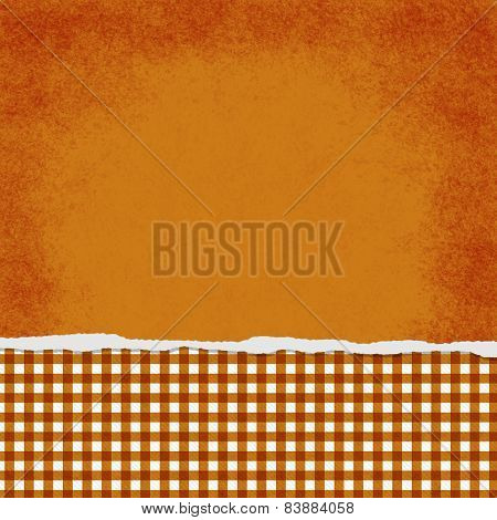 Square Orange And White Gingham Torn Grunge Textured Background