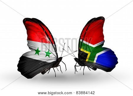 Two Butterflies With Flags On Wings As Symbol Of Relations Syria And South Africa