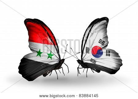 Two Butterflies With Flags On Wings As Symbol Of Relations Syria And South Korea