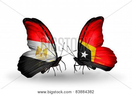 Two Butterflies With Flags On Wings As Symbol Of Relations Egypt And East Timor