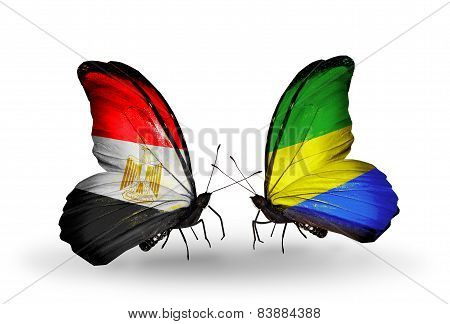 Two Butterflies With Flags On Wings As Symbol Of Relations Egypt And Gabon
