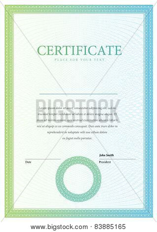 vertical Template certificate and diplomas, currency. Vector