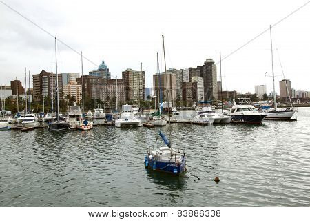 Yachts Moored In Harbour, Durban South Africa