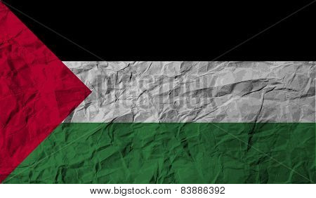 Flag Of Palestine With Old Texture. Vector