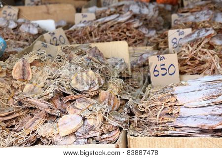 Dried Salted Fish At The Street Market